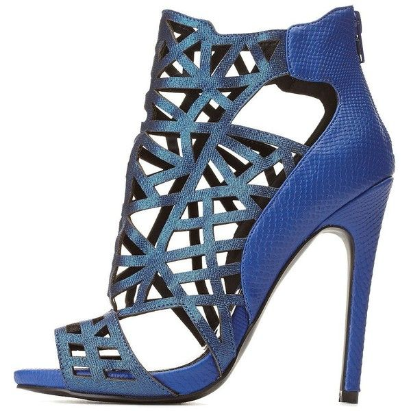 Charlotte Russe Blue Glitter Cut-Out Peep Toe Booties by Charlotte... (