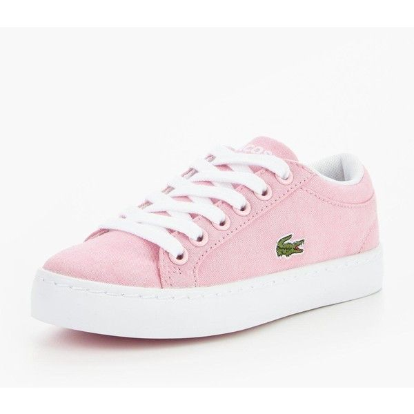 Lacoste Straightset Lace Trainer (66 AUD) ❤ liked on Polyvore featuring shoes, sneakers, lacy shoes, lace trainers, lacoste trainers, lace sneakers and lacoste footwear