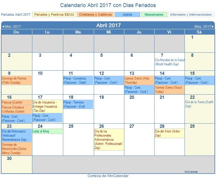 Calendario 2017 con Dias Feriados - Estados Unidos