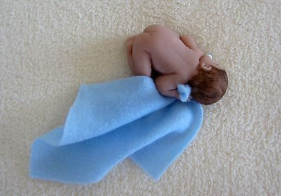2.5 IN MINIATURE POLYMER CLAY  OOAK WINTER BOY BABY DOLL ~ WITH HANDMADE EXTRAS
