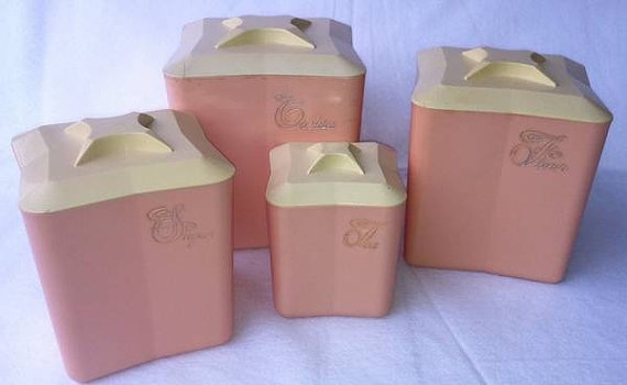 pink kitchen canister set retro vintage pink plastic kitchen canister set by 21281