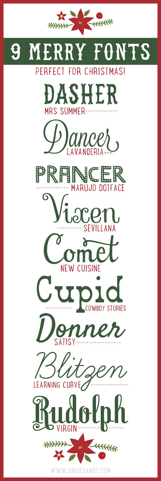 9 Merry Fonts for Christmas #christmas #fonts