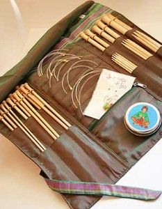 ideas for knitting needle storage... need something for circular needles as well. Pocket for sizer