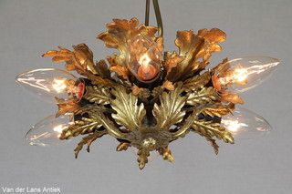 Italiaanse plafonniere 26064 bij Van der Lans Antiek. Meer antieke lampen op www.lansantiek.com