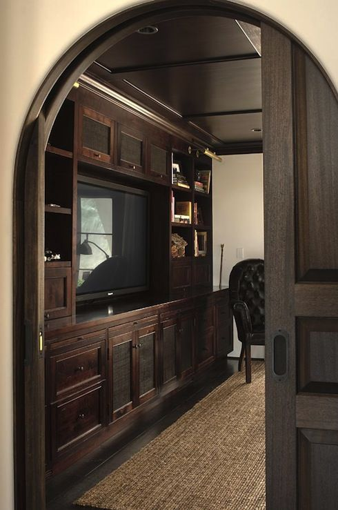 Chris Barrett Design: Office den design with arched doorway, coffee stained media built-ins, cabinets, ...