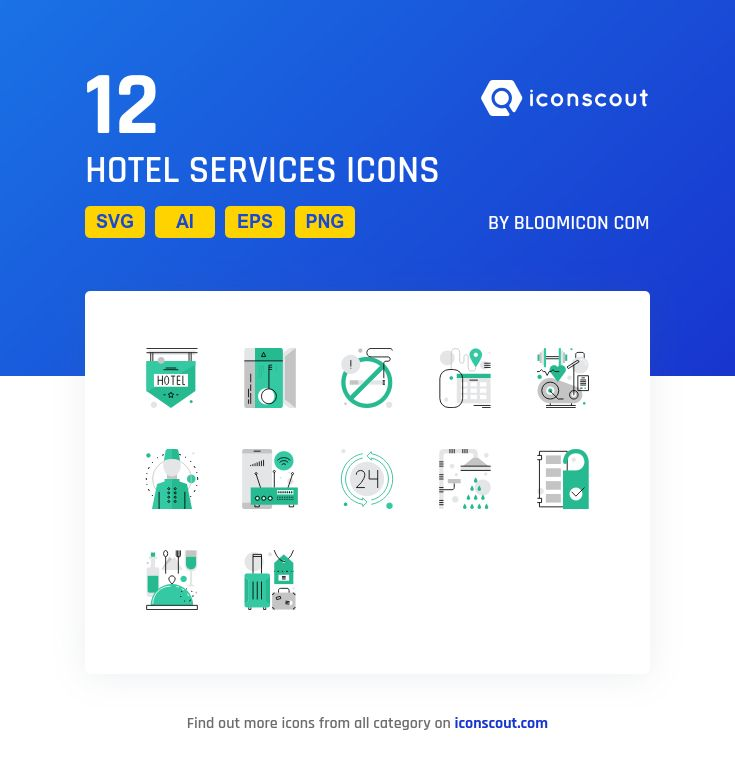 Hotel Services  Icon Pack - 12 Filled Outline Icons