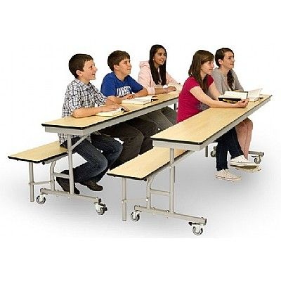 Mobile Convertible Folding School Table and Benches