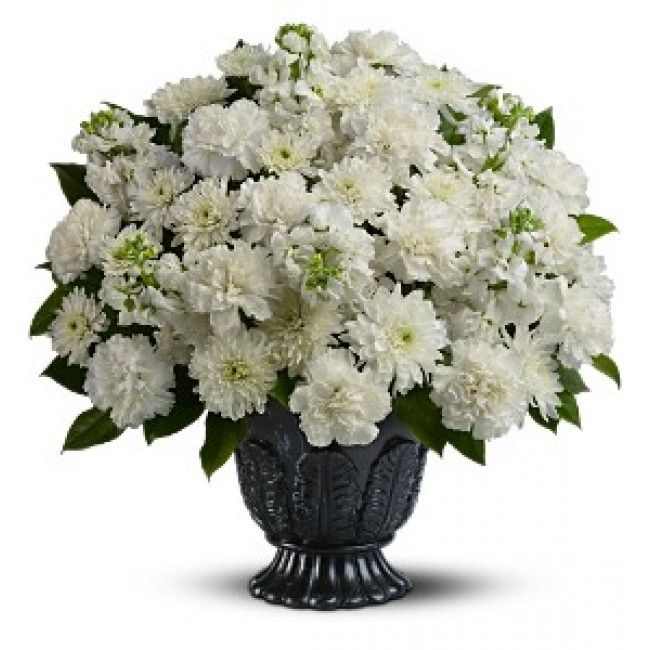 A mix of fresh white flowers such as carnations, stock and cushion spray chrysanthemums is delivered in a Teleflora Timeless Tribute urn.