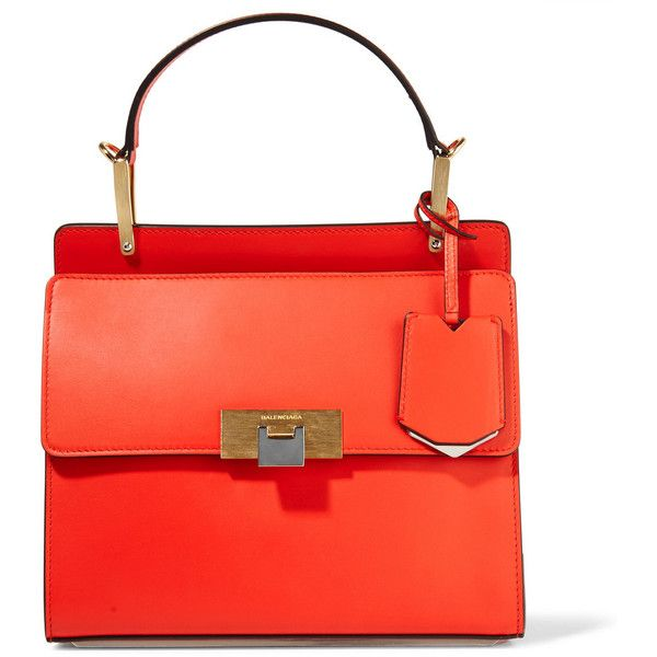 Balenciaga Le Dix Cartable small leather shoulder bag ($1,520) ❤ liked on Polyvore featuring bags, handbags, shoulder bags, shoulder handbags, balenciaga purse, genuine leather purse, red purse and real leather handbags