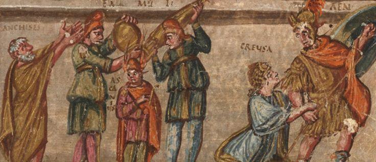 http://mundodelivros.com/eneida/ -  Em Roma, por volta do ano 400, um escriba e três pintores deram forma a um manuscrito iluminado do poema épica A Eneida, cuja autoria é atribuída a Virgílio. O manuscrito relata, através de letras e iluminuras, a viagem do antigo herói Enéias de Tróia para o território onde é hoje Itália.