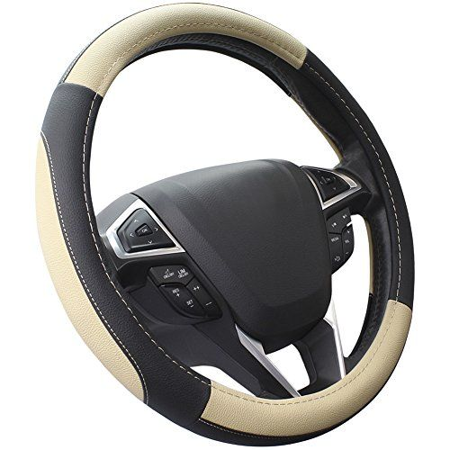 SEG Direct Black and Beige Microfiber Leather Auto Car Steering Wheel Cover Universal 15 inch. For product info go to:  https://www.caraccessoriesonlinemarket.com/seg-direct-black-and-beige-microfiber-leather-auto-car-steering-wheel-cover-universal-15-inch/