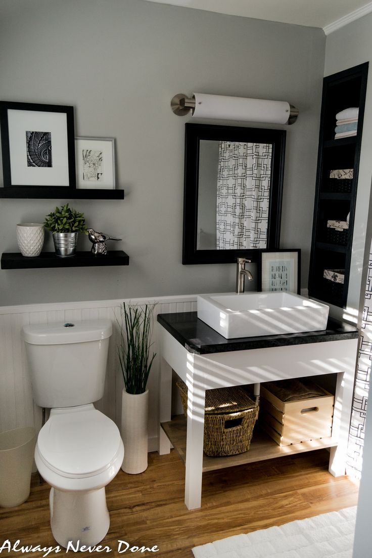 Black and white bathroom decor - Master Bathroom Renovation The Diy And Thrifty Way Black And White