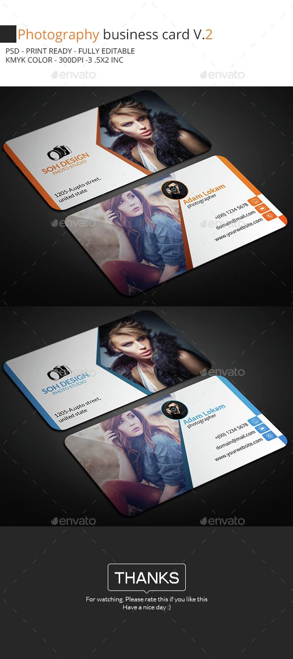 Photography Business Card Template PSD. Download here…