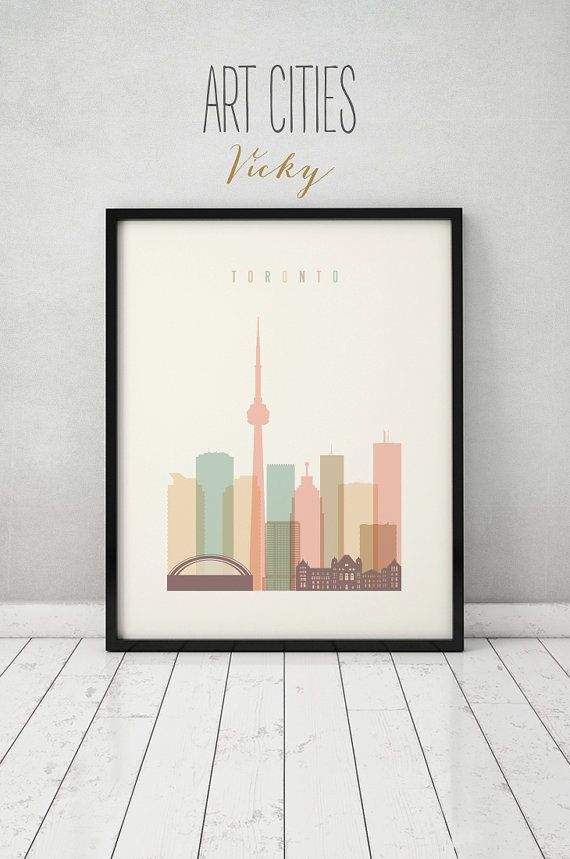 Toronto art print, Poster, Wall art, Toronto skyline, Canada cityscape, City print Typography art, Home Decor, Gift, ArtPrintsVicky.