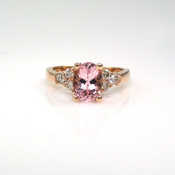 Natural COR-DE-ROSA Morganite 2.54Cts Ring with Diamond in 14K Rose Gold(13853) #Anniversary