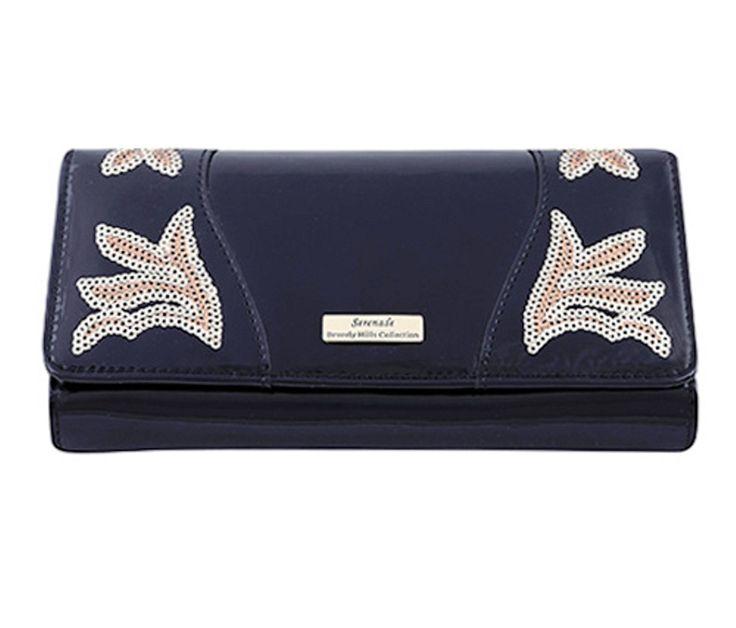 Serenade Ace Sequin Black Patent Leather Wallet Large. WSH8001EM-B.