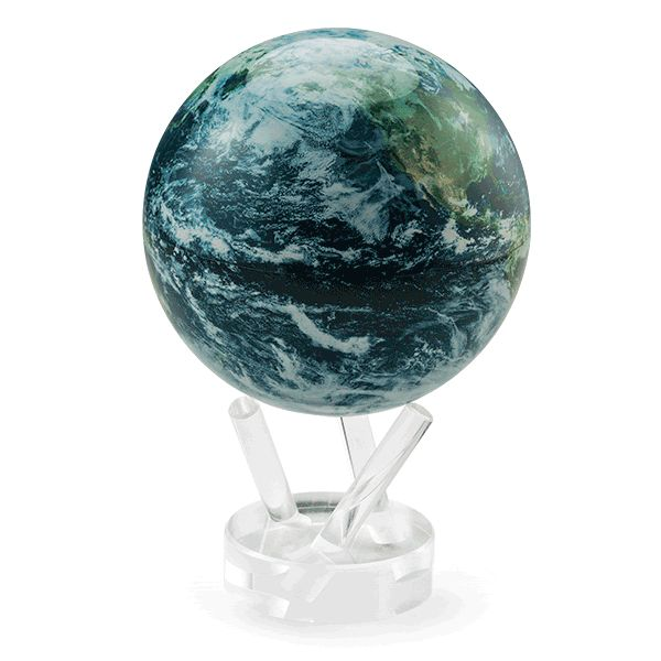 Solar powered spinning Earth globe.