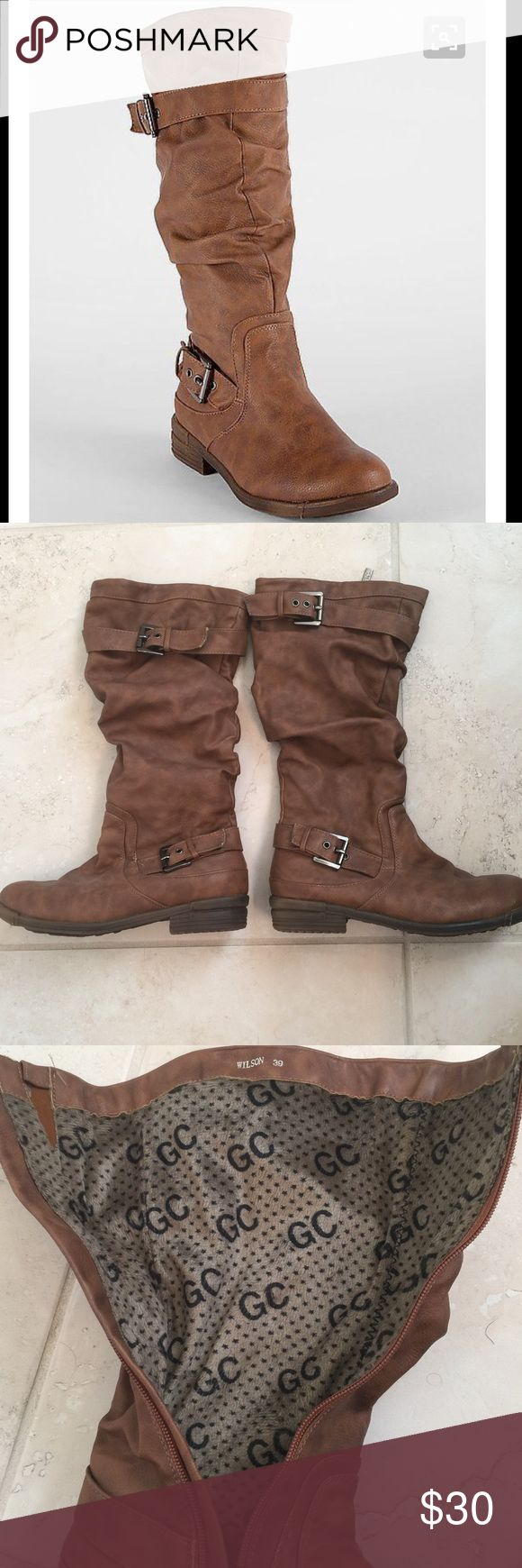 """Buckle Store GC Wilson Boot Buckle faux leather boot. Worn 3-4 times max. Great condition. No stains. Light wear. Bottom soles still in great condition. Faux fur inside lining, extremely comfortable. Tall 14 1/2"""" shaft. 1"""" heel. Textile upper, man made sole. Look cute paired with skinny jeans or leggings. Calf is form fitting. European size 39, US size 8.5 according to Buckle shoe size guide. Purchased at Buckle stores. GC (Buckle)  Shoes Heeled Boots"""
