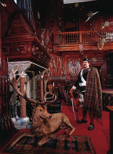 Tilt the Stag and an Atholl Highlander in the Entrance hall to Blair Castle