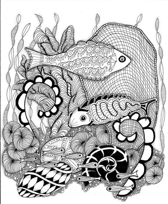 Zentangle Download FISHES Zendoodle To By