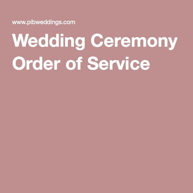 Wedding Ceremony Order of Service