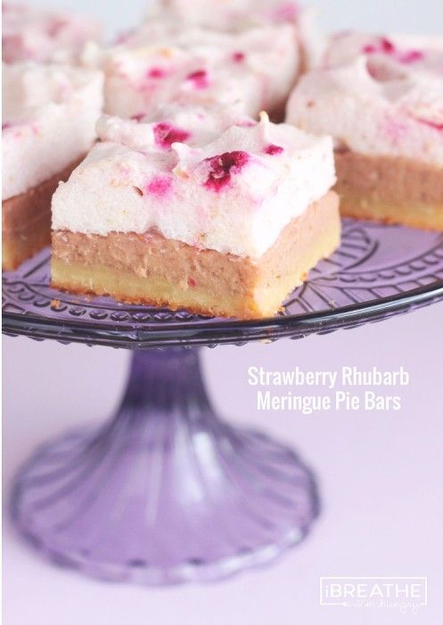 These Strawberry Rhubarb Meringue Pie Bars are not only delicious, they are also low carb and gluten free so you can indulge yourself and still fit into your bathing suit this summer!