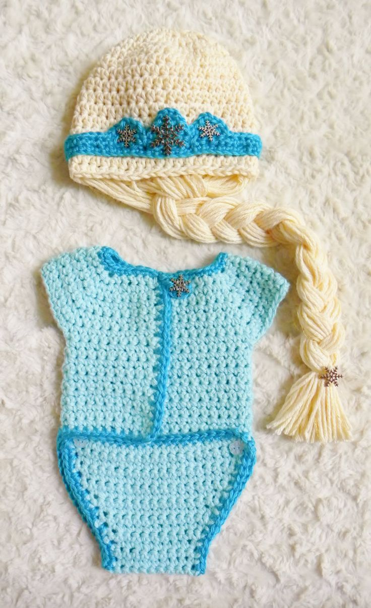 Crochet Elsa Tiara Pattern Free : Crochet Disneys Frozen Elsa Onesie and Hat with Crown and ...