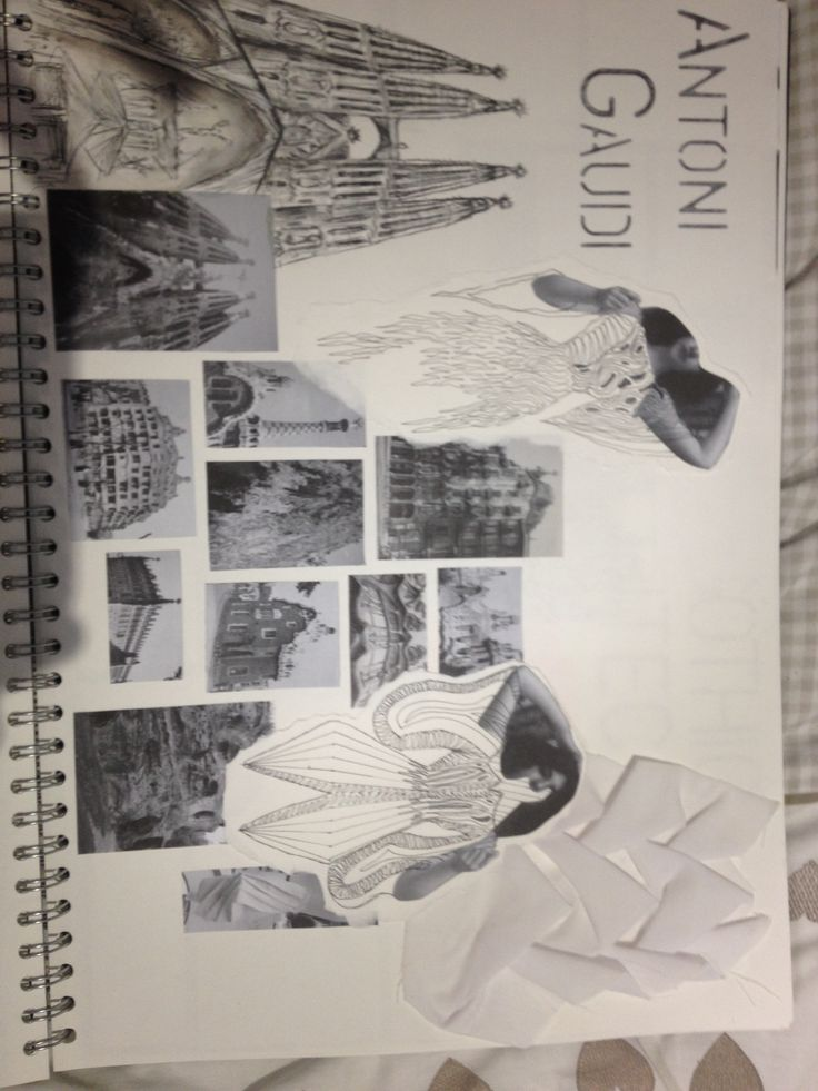 Antoni Gaudi inspired fashion sketchbook page