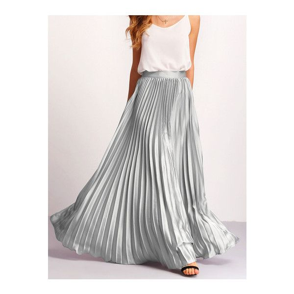 SheIn(sheinside) Silver Zipper Side Pleated Flare Maxi Skirt ($27) ❤ liked on Polyvore featuring skirts, silver, floor length skirts, flared maxi skirt, silver skirt, long pleated skirt and maxi skirts