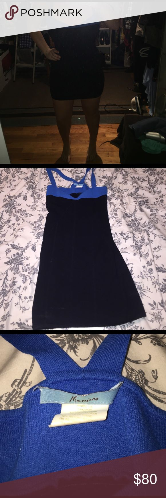 Guess Marciano two tone blue black mini Guess Marciano two tone blue black mini dress in size L. Very stretchy and comfortable, hugs curves. Worn once, great for parties or night out! Marciano Dresses Mini