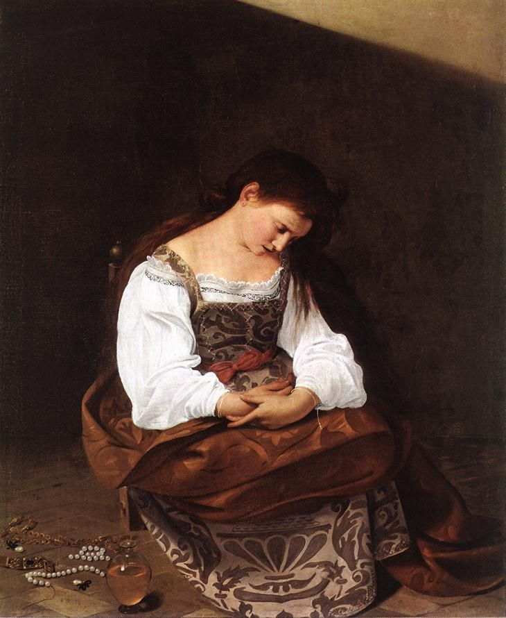 Magdalene, Oil by Caravaggio (Michelangelo Merisi) (1571-1610, Italy) enitent Magdalene (also called Repentant Madalene) is a 16th century oil on canvas painting by Italian Baroque painter Caravaggio.