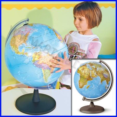 GLOBO GEOGRAFICO DIAM26 ILLUMINATO    Sussidi a doppia rappresentazione cartografica.  Tutti i globi sono dotati di luce ed evidenziano la parte fisica quando sono spenti e quella politica se accesi.    MAPPAMONDO DIAMETRO 26 CM ILLUMINATO    Codice: 106.09351