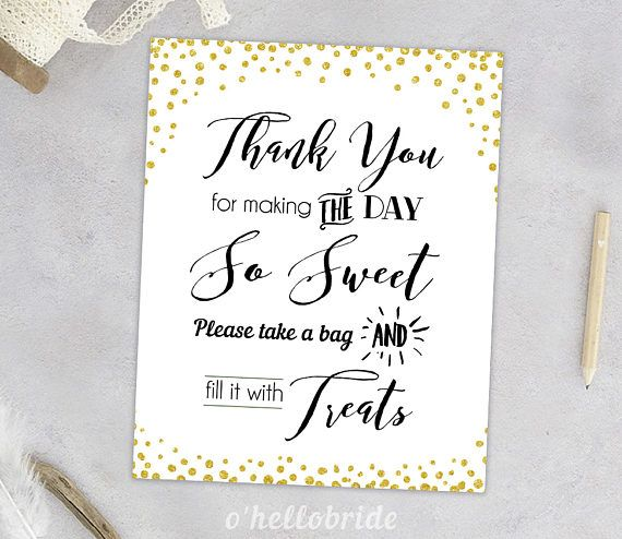 Candy Buffet Sign Candy Table Sign Treats Sign Gold Confetti