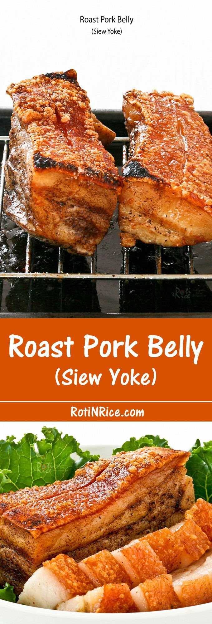 Crispy, crunchy, crackly Roast Pork Belly is a favorite of many. It can be made at home with just 4 ingredients and a little bit of patience. | http://RotiNRice.com