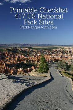 Printable Checklist of the 417 US National Park Sites including National Parks, Seashores, Historic Sites, and more