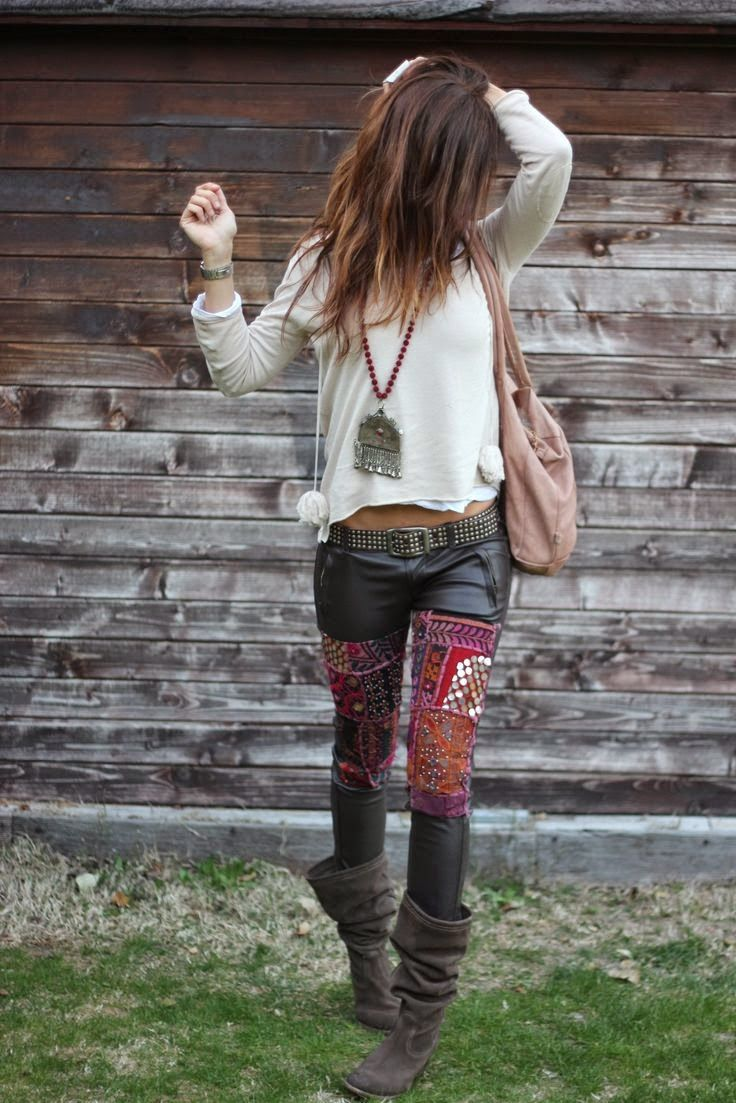 Embellished leather pants, bag and adorable shoes with Indian necklace