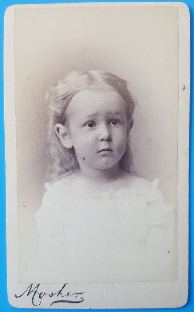 Antique CDV Portrait Little Blonde Girl w Upset Face 1870's Chicago IL | eBay