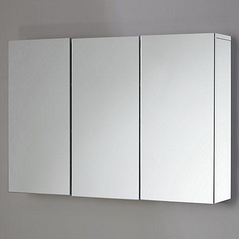 Buy John Lewis Gloss Triple Mirrored Cabinet, White Online at johnlewis.com
