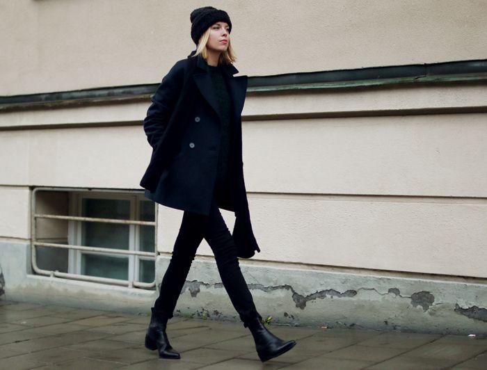Hanna Stefansson | Pea coat (COS). Jeans (Cheap Monday). Boots (Vagabond). Beanie (Ganni).