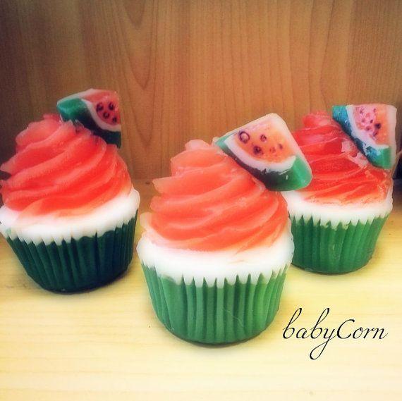 Watermelon Soap Cupcake by babyCornBathandBody on Etsy, $5.99