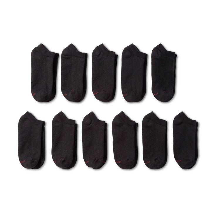 Imn Socks Adult Male Athletic Socks Hanes Premium 11 Pk Black 6-12