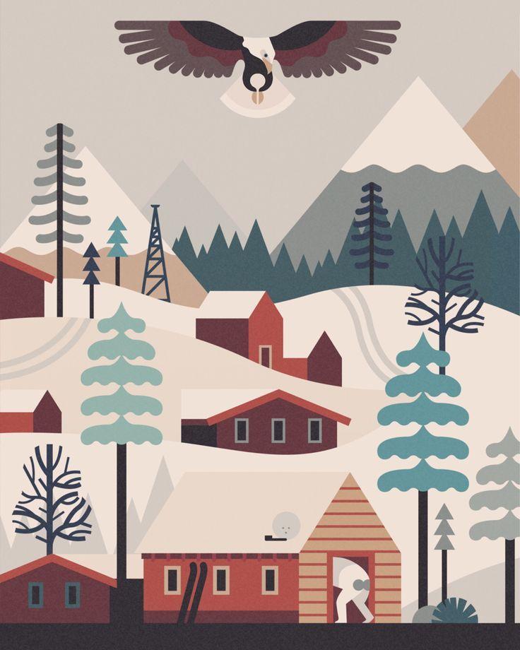 Owen Davey Vector winter landscape eagle illustration graphic design