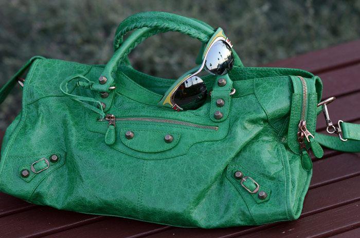 balenciaga city bag, prada sunglasses