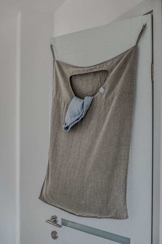 Hanging linen laundry bag in Natural