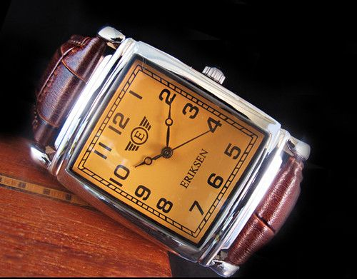 eriksen vintage style rectangular mens watch genuine leather eriksen vintage style rectangular mens watch genuine leather strap vintage style vintage and leather