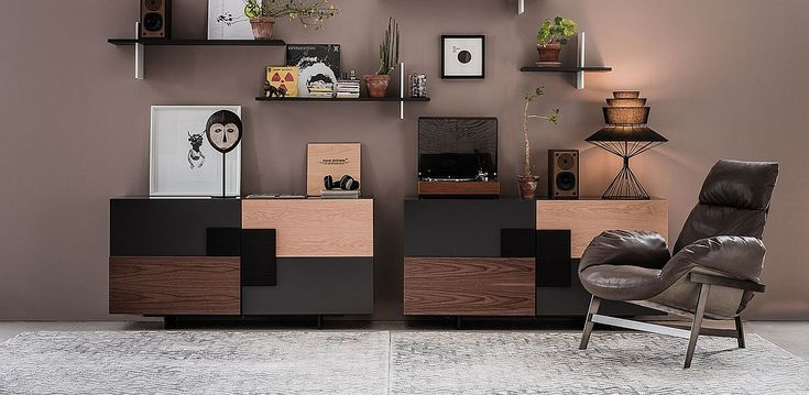 Polished finishes coupled with wooden inserts for a captivating sideboard