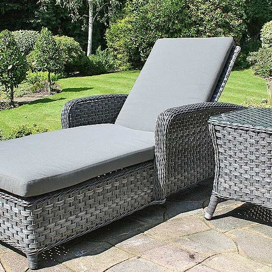 Oxford sunbed and oxford side table rattan sun loungers for Luxury garden furniture
