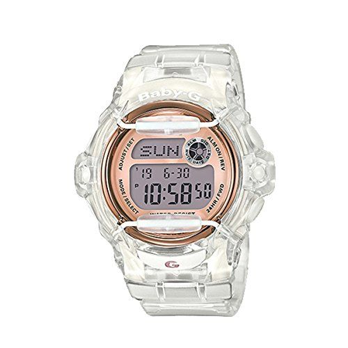 Casio Baby-G BG169G-7B Face Protector Ion-Plated Metal White Rose Gold Watch Digital. Shock Resistant. EL Backlight. 5 Daily Alarms. Stopwatch. Countdown.