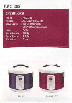 Selatan Jaya distributor barang plastik Surabaya: Rice Cooker masin penanak nasi kode KRC 388 merk K...