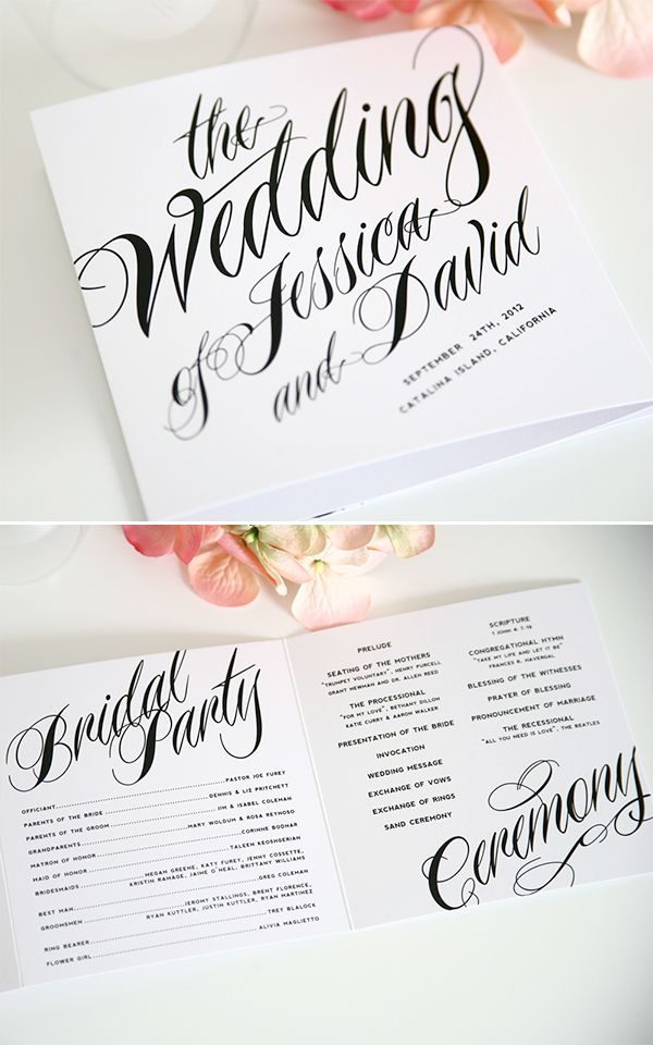 ravishing script wedding ceremony programs, love! http://www.shineweddinginvitations.com/ceremony-programs/ravishing-script-trifold-ceremony-programs